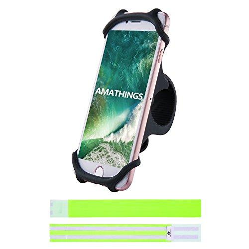 AMATHINGS Stablier Fahrrad-Smartphonehalter In Schwarz Und 2 Reflektierende Hosenschutz-Bänder Auto-Lenkrad-Halter Für Smartphones Bis 5,5'