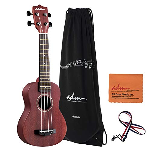 ADM Beginner Ukulele 21 Inch Soprano Kids Starter Pack Bundle with Gig Bag, Wine Red