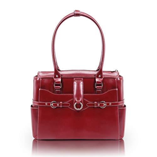 """McKlein, W Series, Willow Springs, Top Grain Cowhide Leather, 15"""" Leather Ladies' Laptop Briefcase, Red (96566)"""