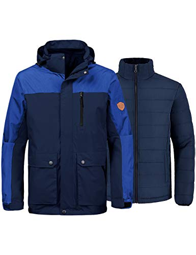 Wantdo Men's Waterproof 3-in-1 Ski Jacket Interchange Raincoat Snow Coat Blue S