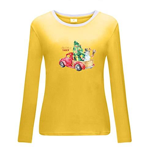 HOSD Ms. Santa Pickup Snowman Print T-Shirt Yellow