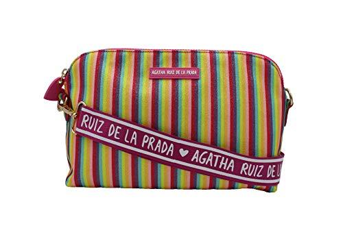 Agatha Ruiz de la Prada Bandolera bolso grande de mujer plastificada estampada con rayas multicolor
