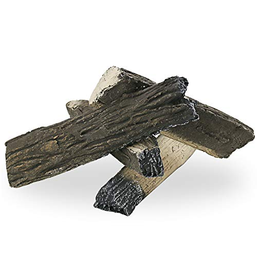 Hisencn Woods Logs Set for Outdoor Fireplaces & Fire Pit, Ceramic Realistic Kit for All Types of...
