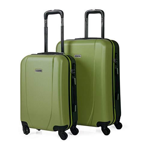 ITACA - 2er Hartschalen Kofferset 55/65cm ABS. 4 Rollen. Robuster und Leichter. Hängeschloss. 2 Große: Kabine und mittle Koffer. Studenten. 71115, Color...