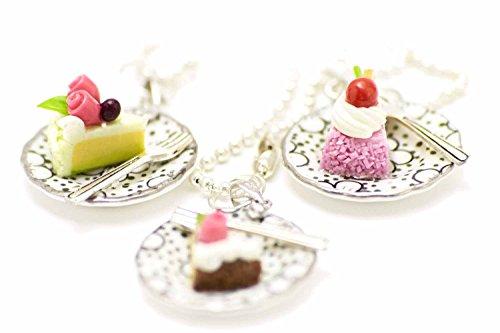 Miniblings Tortenstück Kuchen Halskette - Handmade Modeschmuck I Kette mit Anhänger Länge: 80cm -Torte Teller Kuchenstück Punkte