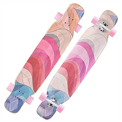 HOMEDAI Longboard 118cm Pro Skateboard, Crucero Completo Dancing Patinetas, Canadian Maple Wood para Adolescentes Adultos Niños Principiantes Adultos Niños Chicas,E
