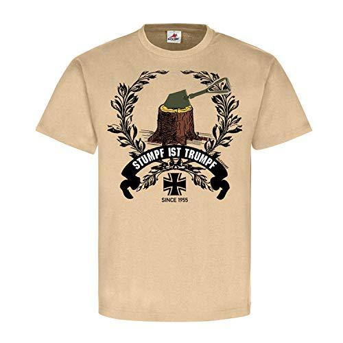 Stumpf ist Trumpf Bundeswehr Klappspaten Baum Grundausbildung - T Shirt #25228, Größe:L, Farbe:Sand