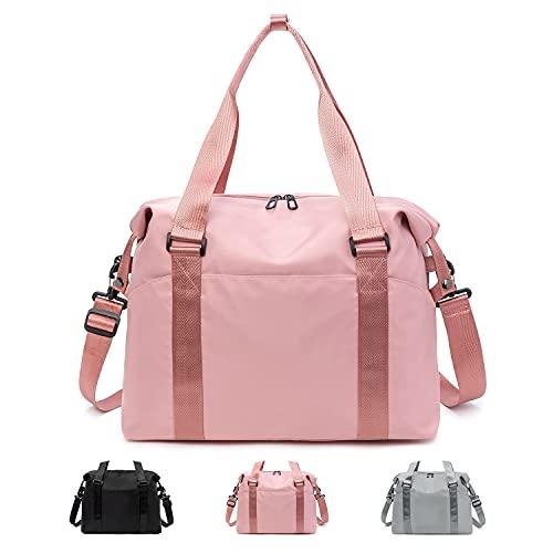 FEDUAN original hochwertige Sporttasche Reisetasche mit Nassfach Kliniktasche Shopping-Bag Weekender Handgepäck faltbar wasserfest Handtasche Freizeit-Tasche Damen Einkaufen pink rosa alt-rosa
