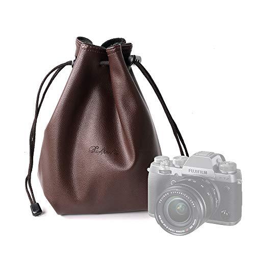【BACKPACKER】 カメラケース 巾着袋 ソフトクッションポーチ インナー バッグアクセサリー 【PUレザー製/裏面収納ポケット付き、メモリカードやバッテリーなど小物収納可能】 (S, レッドブラウン)