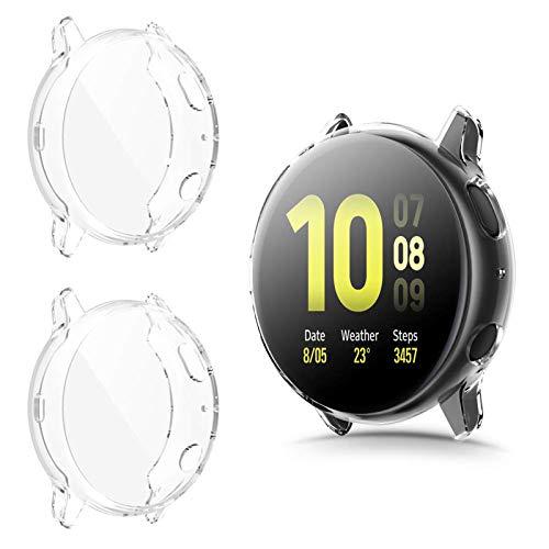 CAVN Hülle Kompatibel mit Samsung Galaxy Watch Active 2 40mm Schutzhülle Schutzfolie [2-Stück], Flexibles TPU Vollschutz Bildschirmschutzfolie Kratzfest Bildschirmschutz Schutz Hülle (Passt Nicht 44mm)