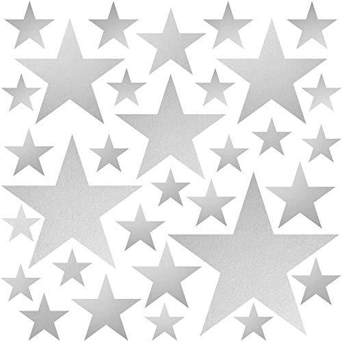 PREMYO 32 Estrellas Pegatinas Pared Infantil - Vinilos Decorativos Habitación Bebé Niños - Fácil de Poner Plata