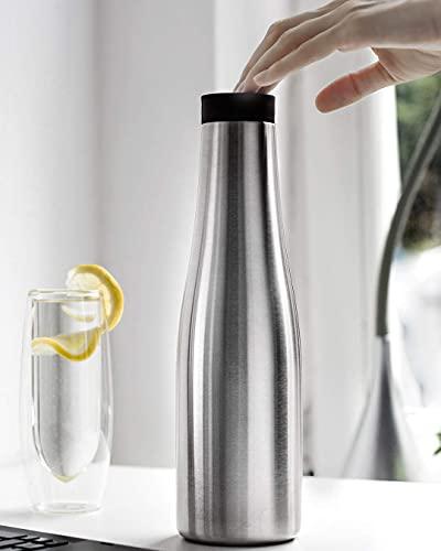 BOHORIA® Termo de diseño prémium de agua de 900 ml, jarra para café, té y agua, acero inoxidable, cierre OneClick