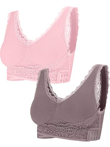 2 Pieces Lace Vest Bra Seamless Front Cross Bras Adjustable Side Buckle Bra for Women Gym Wearing (Pink, Cameo Brown, L)