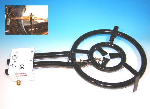 Gasbrenner 60cm, 3-Ring-Brenner 25 KW, mit Zündsicherung, für Innenbenutzung