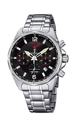Festina Hombre Reloj de Cuarzo con cronógrafo Negro y Plata Pulsera de Acero Inoxidable f6835/2