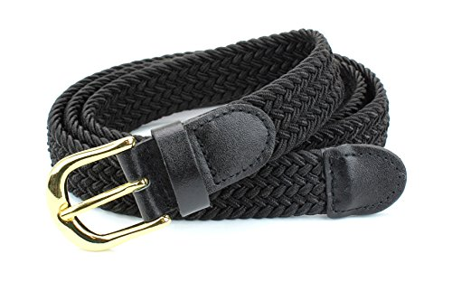 Women's Braided Elastic Woven Stretch Belt Solid Color Gold Buckle and Leather Tip (Black-XL)