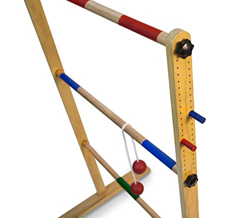 Ladder Toss Double Wooden Ladder Ball Game with Finished Wood and Durable Nylon Carrying Case