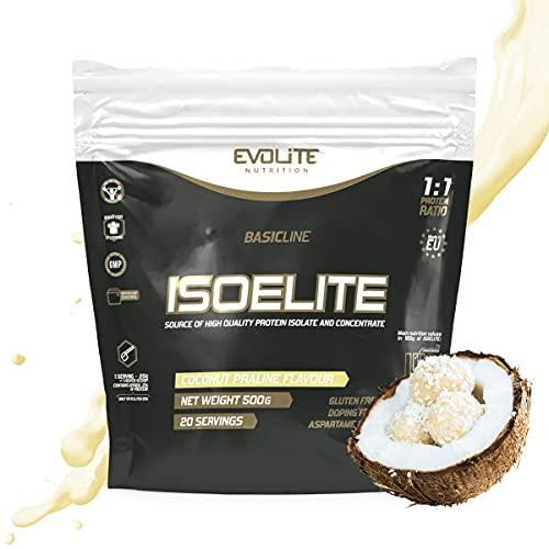 EVOLITE NUTRITION IsoElite 500g - Proteine Whey - Dolce Gusto - Ben Solubile Proteine in Polvere - Alta Qualità Proteine Isolate (noix de coco)