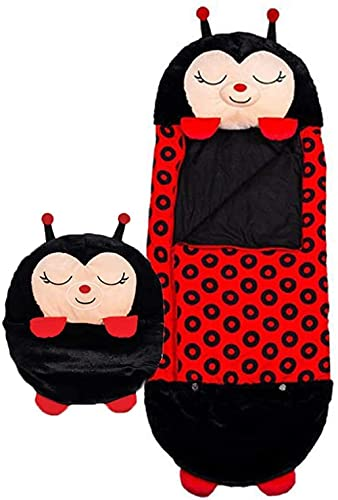 WEWQ Niños Bolsa de Dormir Almohada Plegable Cómodo Niños S Bolsos para Dormir Animal 2 en 1 Proteger Nap Cushion Soft Mat Family Camping-Mariquita Negra