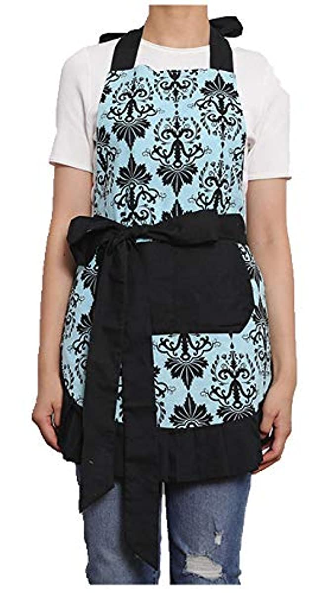 Surblue Pure Durable Cotton Women Flirty Skirt Apron with Deep Front Pockets, Water-Proof and Oil-Proof Adjustable Bib Kitchen Apron (LDOD, one Size)