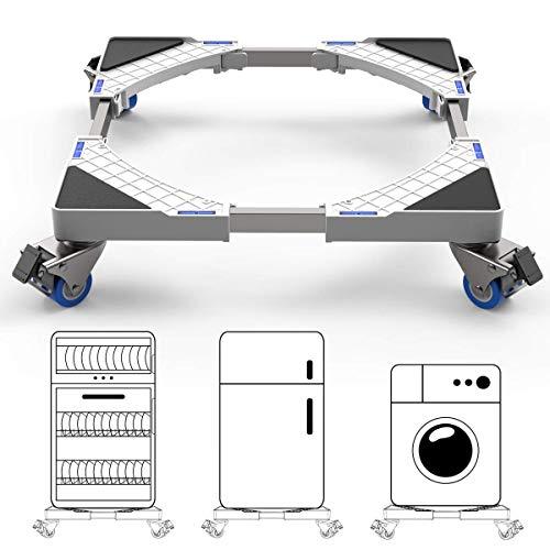 Supporto Frigorifero con Ruote SEISSO Base Lavatrice Regolabile da 44.8 a 69 cm per Asciugatrice/Frigorifero Supporta 300kg max