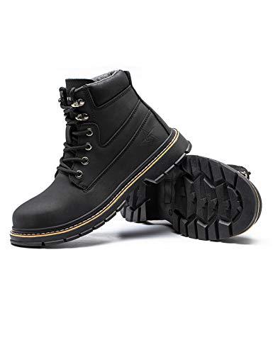 Letuwj Botas de trabajo de los hombres zapatos industriales impermeables del dedo del, color Negro, talla 41 EU