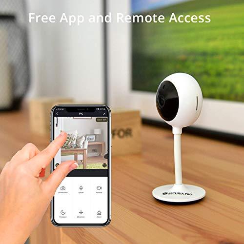 SECURIA PRO Maki - 1080p HD Nachtsicht Kamera kompatibel mit Alexa & Google Home, Überwachungskamera mit 2-Wege-Audio, Innen SD/ Cloud-Kamera für Baby/ Haustier, Weiß