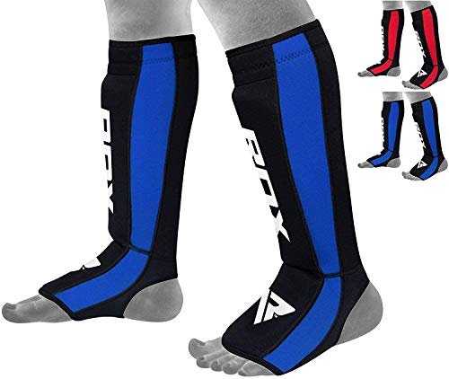 RDX Shin Guards for Kickboxing, Muay Thai, MMA Fighting, Approved by SATRA, Neoprene Instep Leg Protector Foam Pads, Protective Gear for Martial Arts, Sparring, BJJ Training and Boxing