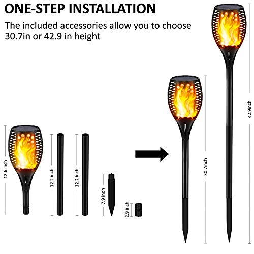 Gold Armour Solar Lights Outdoor Flickering Flames Torch