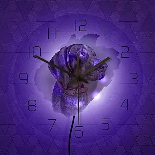 NIGU Reloj vintage guapo caza perro retrato acrílico transparente pared iluminado reloj acuarela cachorro pared colgante reloj con retroiluminación LED decoración registros