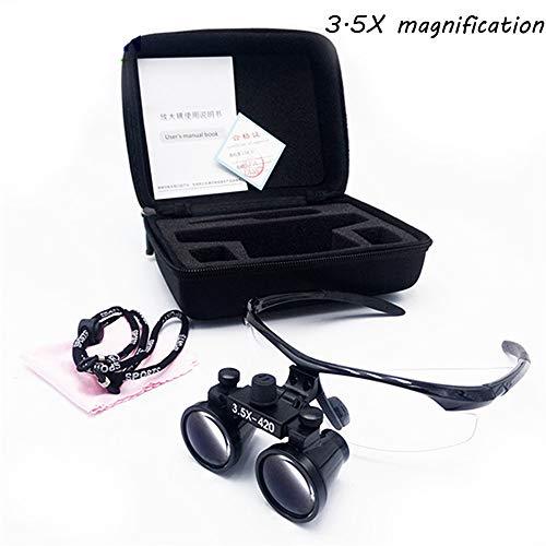 Odontoiatria Magnifier New Chirurgico Binoculari 3.5 X 420mm Vetro Ottico Occhiali con Binocolo di Ingrandimento,Nero
