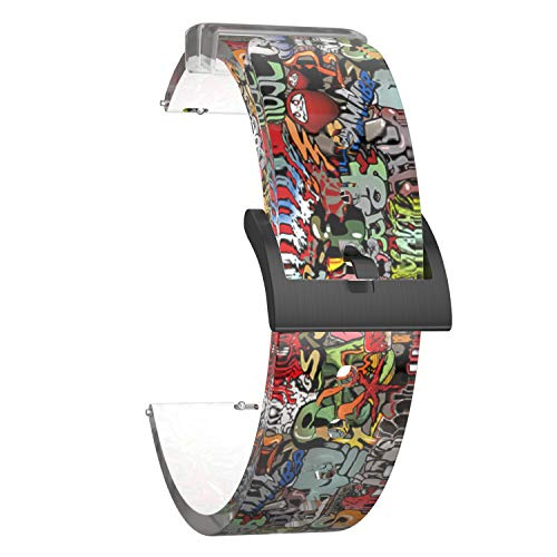 SOUWILA Correa Reloj Recambios Correa Relojes Caucho 18/20/22/24mm Caucho Correa Reloj con Hebilla de Acero Inoxidable (20mm, RedGreen-Black)