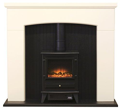 Adam Derwent Suite with Hudson Electric Stove, 2000 Watt, Ivory/Black