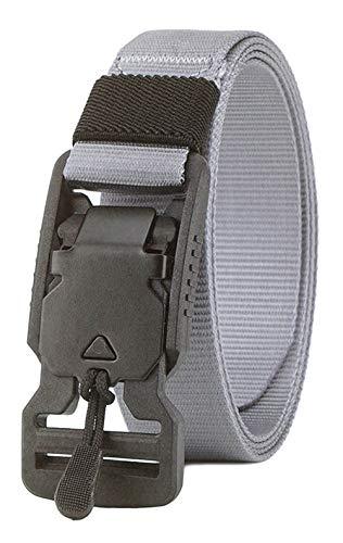 Longwu Cinturón de cintura táctico militar de lona de nylon con hebilla de liberación rápida súper magnética para hombres y mujeres Gris