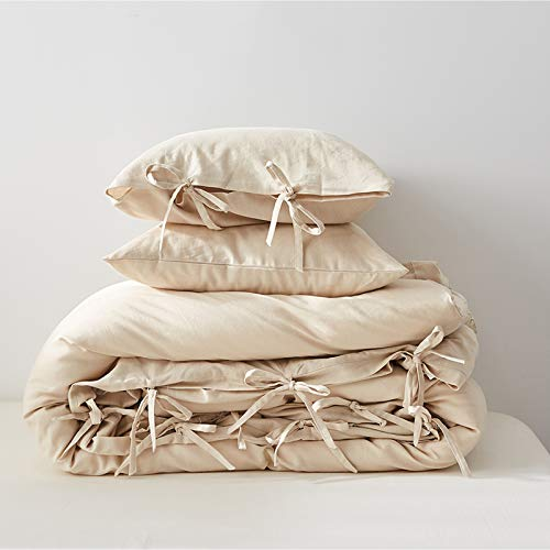 Simple&Opulence Washed Linen Cotton Blend Duvet Cover-Solid Color with Tie Closure Bedding Set-Soft Hypoallergenic Quilt Cover Set with 2 Pillowshams(260x220cm, Beige)
