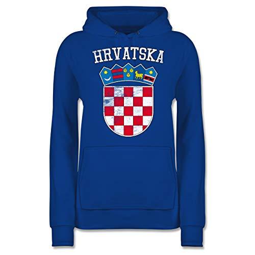 Fußball-Europameisterschaft 2021 - Kroatien Wappen WM - S - Royalblau - 2018 Kroatien Wappen wm - JH001F - Damen Hoodie und Kapuzenpullover für Frauen