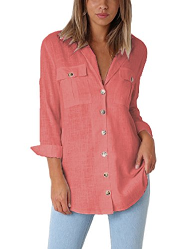 GRAPENT Women's Casual Loose Roll-up Sleeve Blouse Pocket Button Down Shirts Tops Coral M(US 8-10)