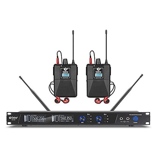 D Debra Audio PRO ER-202 UHF - Sistema de monitor in-ear inalámbrico (canal dual, con transmisor y receptor para escenario, estudio de grabación, músicos, monitoreo (2 bodypack con transmisor)