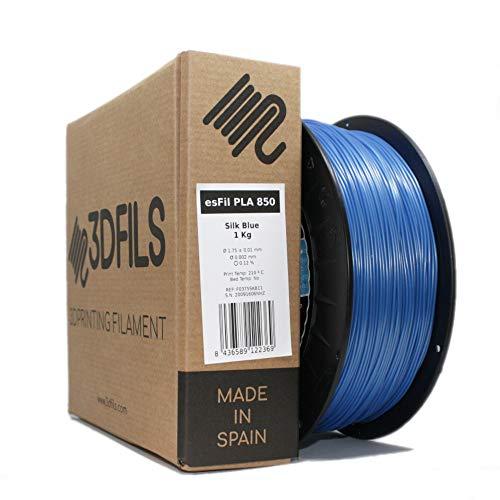 3DFILS - Filamento PLA Seda para impresión 3D (750 g, Azul Seda)