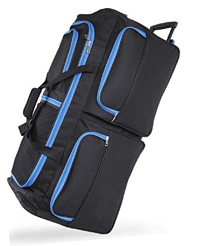 DK Luggage Travel Bag Wheeled Holdall Extra Large 34' Suitcase 3 Wheels Black with Blue Trimming