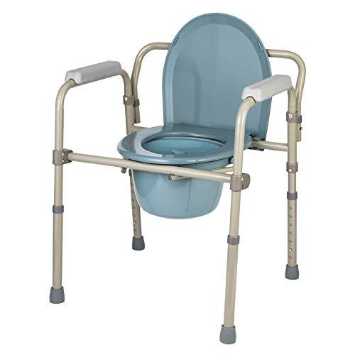 CO-Z Toilettensitz Toilettenstuhl Höhenverstellbar Faltbar WC Sitz WC-Stuhl Nachtstuhl Tragbarer Klappstuhl mit eingebauter Toilette bis zu 136 kg