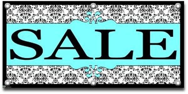 Sale Elegant Damask Retail Store Business Sign Banner