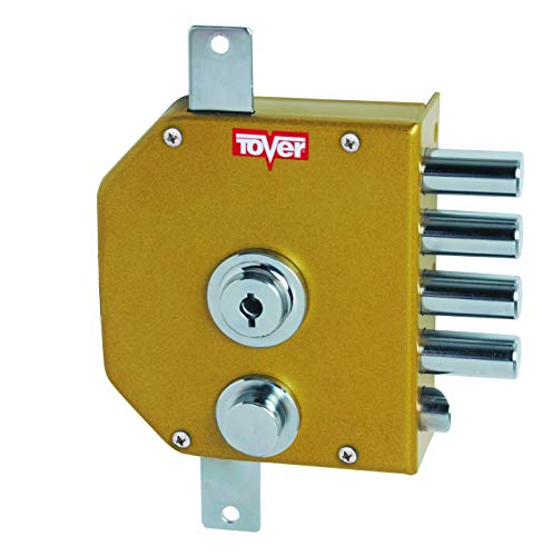 Tover 9000P, Cerradura 3P c/resbalón c/barras cierre interior T2 c/llave dcha. esm.oro