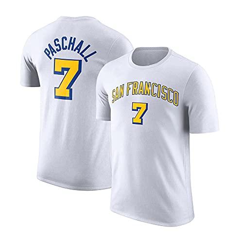 YZQ Camisetas para Hombre, Golden State Warriors # 7 Eric Paschall NBA Basketball Camisetas Vestidos Transpirables Jerseys De Manga Corta,Blanco,S(160~165CM)