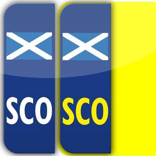 2 x Escocesas SCO Placa Coche Matrícula Autoadhesivo Pegatina Vinilos GB legal bandera escocesa pegatinas: Amazon.es: Coche y moto