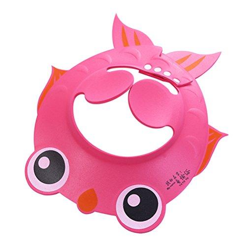 BESTOMZ Chapeau de bain pour bébé réglable protection pour shampoing pour enfants (rose)