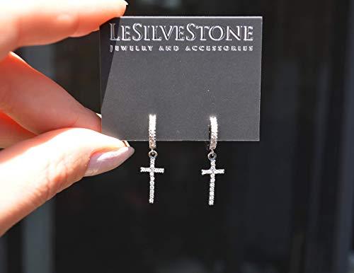 Dangle cross huggie hoop earrings in Sterling Silver with CZ diamonds