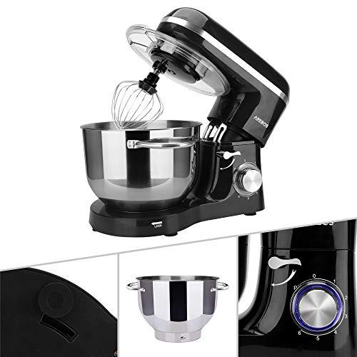 Arebos - Robot de cocina 1500 W con cuenco de acero inoxidable de 6 l | varillas mezcladas, gancho para amasar | accesorios cocina | batidora | amasadora