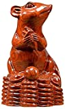 Colección de estatua de ratón / rata de Feng Shui del zodiaco chino, decoración de palisandro, manualidades, regalo, tallado en madera, atraer riqueza, suerte, oficina en casa, mesa 0730 (tamaño: med