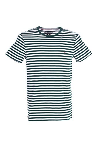 Tommy Hilfiger Stretch Slim Fit Tee T-Shirt de Sport, Vert (Faded Olive/White), Small Homme